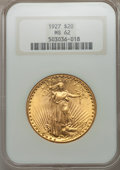 Saint-Gaudens Double Eagles: , 1927 $20 MS62 NGC. NGC Census: (20216/114264). PCGS Population(19354/113488). Mintage: 2,946,750. Numismedia Wsl. Price fo...