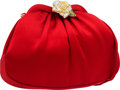 Luxury Accessories:Bags, Judith Leiber Red Satin Evening Bag with Beaded Rose Decoration....