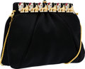 Luxury Accessories:Bags, Judith Leiber Black Satin Evening Bag with Crystal Elephant Detail....