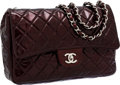 Luxury Accessories:Bags, Chanel Bordeaux Patent Leather Jumbo Single Flap Bag with SilverHardware. ...