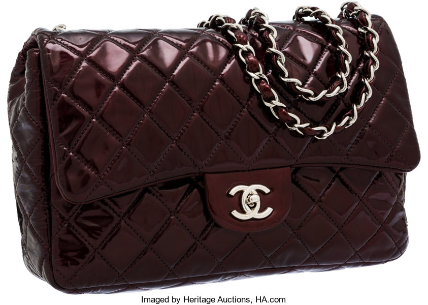 1cd574568f98 Luxury Accessories:Bags, Chanel Bordeaux Patent Leather Jumbo Single Flap  Bag with SilverHardware.