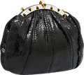 Luxury Accessories:Bags, Judith Leiber Black Lizard Evening Bag with Cabochon and Silver& Gold Frame. ...
