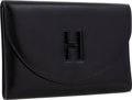 Luxury Accessories:Bags, Hermes Black Calf Box Leather H Gaine Clutch Bag. ...