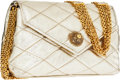 Luxury Accessories:Bags, Chanel Gold Quilted Lambskin Leather Evening Bag with GoldMultichain Strap. ...