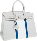 Luxury Accessories:Bags, Hermes Limited Edition 35cm Gris Perle, Mykonos & White Clemence Leather and Lizard Club Birkin Bag with Palladium Hardware...