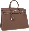 Luxury Accessories:Bags, Hermes 40cm Etoupe Clemence Leather Birkin Bag with PalladiumHardware. ...