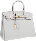 Luxury Accessories:Bags, Hermes 35cm Gris Perle Togo Leather Birkin Bag with Gold Hardware....