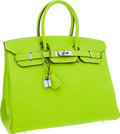 Luxury Accessories:Bags, Hermes Limited Edition Candy Collection 35cm Kiwi & Vert Veronese Epsom Leather Birkin Bag with Palladium Hardware. ...