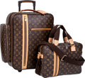 Luxury Accessories:Travel/Trunks, Louis Vuitton Set of Two; Classic Monogram Canvas Pegase 45 TrolleyWheels Luggage Travel Bag and Matching Messenger Bag. ... (Total: 2Items)
