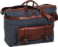 Luxury Accessories:Travel/Trunks, Brunello Cucinelli Gray Cashmere & Brown Leather Unisex Travel Bag. ...