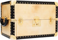 Luxury Accessories:Travel/Trunks, Fendi Beige Canvas Jewelry Box Train Case with Black Patent LeatherTrim . ...