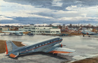 OGDEN MINTON PLEISSNER (American, 1905-1983) Midway Airport, Chicago Watercolor on board 19-3/4 x