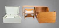 EDWARD DURELL STONE (American, 1902-1978) Children's Bed, Desk and Chair Set with Toy Box, 1969 Soli