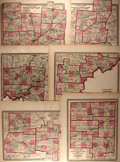 Books:Maps & Atlases, [Maps]. Group of Six Hand-Colored Maps Depicting the Counties of Ohio. Taken from an Atlas of Ohio. New York: H.H. Lloyd & C...
