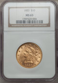 Liberty Eagles: , 1883 $10 MS63 NGC. NGC Census: (92/4). PCGS Population (79/2).Mintage: 208,740. Numismedia Wsl. Price for problem free NGC...
