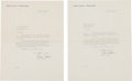 Movie/TV Memorabilia:Documents, An Orson Welles Pair of Signed Letters, 1951....
