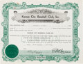 Autographs:Others, 1939 Kansas City Blues Baseball Stock Certificate Issued to GeorgeRuppert, Signed by Ed Barrow....