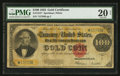 Large Size:Gold Certificates, Fr. 1215* $100 1922 Gold Certificate PMG Very Fine 20 Net.. ...