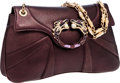 Luxury Accessories:Bags, Gucci by Tom Ford Limited Edition Purple Leather Dragon ClosureBag. ...