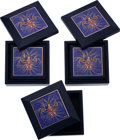 Luxury Accessories:Home, Hermes Set of Five Blue Marine Chevre Leather Jewelry Boxes withEnamel Design Tops. ... (Total: 5 Items)