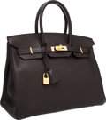 Luxury Accessories:Bags, Hermes 35cm Ebene Togo Leather Birkin Bag with Gold Hardware. ...