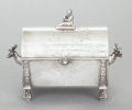 Other:American, A REED & BARTON SILVER-PLATED FIGURAL BOX. Reed & Barton,Taunton, Massachusetts, circa 1880. Marks: MF'D & PLATED BYREED...