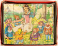 """Books:Prints & Leaves, Block Puzzle With Four Scenes From Disney's Snow White. n.d.Also includes prints of the four images. 8"""" x 6.5"""". Hou..."""