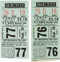 Baseball Collectibles:Tickets, 1957 New York Giants Final Polo Grounds Games Ticket Stubs Lot of2....