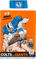 Football Collectibles:Tickets, 1959 NFL Championship Program & Ticket. ...