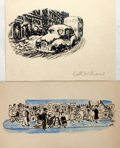 Books:Original Art, Garth Williams (1912-1996), illustrator. SIGNED. Two Original Pen and Ink Drawings. With watercolor accents. 1940s. Drawings...