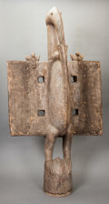 Tribal Art, Senufo (Côte d'Ivoire, Mali or Burkina Faso, Western Africa).Hornbill headdress. Wood and metal. Height: 60 inches. ...