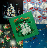 Garth Williams (1912-1996), illustrator. SIGNED. Five Samples of Wrapping Paper Designed by Williams. Each measures a