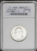 Washington Quarters: , 1932-S 25C --Cleaned--ANACS. MS60 Details. NGC Census: (9/1293).PCGS Population (28/2062). Mintage: 408,000. Numismedia Wsl...