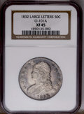 Bust Half Dollars: , 1832 50C Large Letters XF45 NGC. O-101A. PCGS Population (8/54).(#6161)...