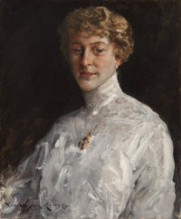 WILLIAM MERRITT CHASE (American, 1849-1916) Lady in a White Blouse, 1912 Oil on canvas 25-5/8 x 2