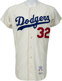 1965 Sandy Koufax Game Worn Los Angeles Dodgers Jersey, MEARS A10