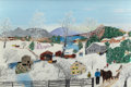 Fine Art - Painting, American:Contemporary   (1950 to present)  , GRANDMA MOSES (American, 1860-1961). Logging, 1956. Oil and glitter on board. 16 x 24 inches (40.6 x 61.0 cm). Signed lo...