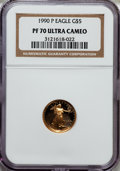 Modern Bullion Coins: , 1990-P G$5 Tenth-Ounce Gold Eagle PR70 Ultra Cameo NGC. NGC Census: (1212). PCGS Population (415). Mintage: 99,349. Numisme...