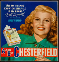 "Rita Hayworth Advertising Chesterfield Cigarettes (Liggett & Meyers Tobacco Co., 1947). Poster (21"" X 22&qu..."