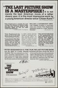 """Movie Posters:Drama, The Last Picture Show (Columbia, 1971). Autographed One Sheet (27"""" X 41"""") Review Style. Drama.. ..."""