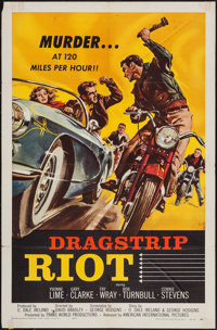 "Dragstrip Riot (American International, 1958). One Sheet (27"" X 41"") & Lobby Card. Exploitation. ... (..."