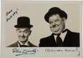 Movie/TV Memorabilia:Autographs and Signed Items, A Stan Laurel and Oliver Hardy Small Signed Black and WhitePhotograph, Circa 1940s....