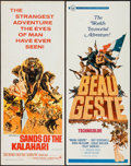 "Movie Posters:Adventure, Beau Geste & Other Lot (Universal, 1966). Inserts (2) (14"" X36""). Adventure.. ... (Total: 2 Items)"
