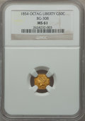 California Fractional Gold: , 1854 50C Liberty Octagonal 50 Cents, BG-308, R.4, MS61 NGC. NGCCensus: (6/11). PCGS Population (13/57). ...