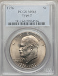 Eisenhower Dollars: , 1976 $1 Type Two MS66 PCGS. PCGS Population (441/9). NGC Census: (337/3). Mintage: 113,318,000. Numismedia Wsl. Price for p...