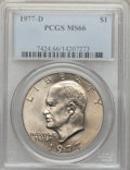 Eisenhower Dollars: , 1977-D $1 MS66 PCGS. PCGS Population (445/6). NGC Census: (1781/8). Mintage: 32,983,006. Numismedia Wsl. Price for problem ...