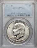 Eisenhower Dollars: , 1972-D $1 MS66 PCGS. PCGS Population (382/6). NGC Census: (307/4). Mintage: 92,548,512. Numismedia Wsl. Price for problem f...
