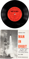 "Explorers:Space Exploration, Scott Carpenter Signed Long Playing ""America's First Man in Orbit""Record with Sleeve. ..."