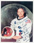 Autographs:Celebrities, Neil Armstrong Signed White Spacesuit Color Photo....