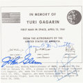 Autographs:Celebrities, Reproduction of NASA Plaque in Memory of Yuri Gagarin, Signed byGlenn, McDivitt, and Armstrong....